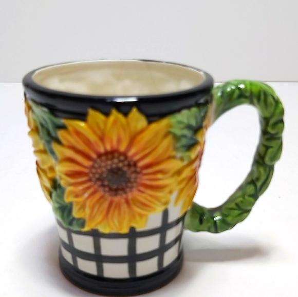 Fitz and Floyd sunflower vintage mug
